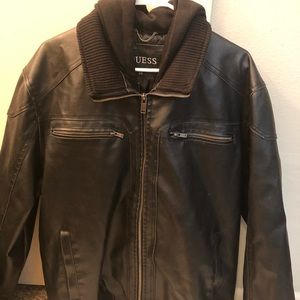 Men guess leather jacket